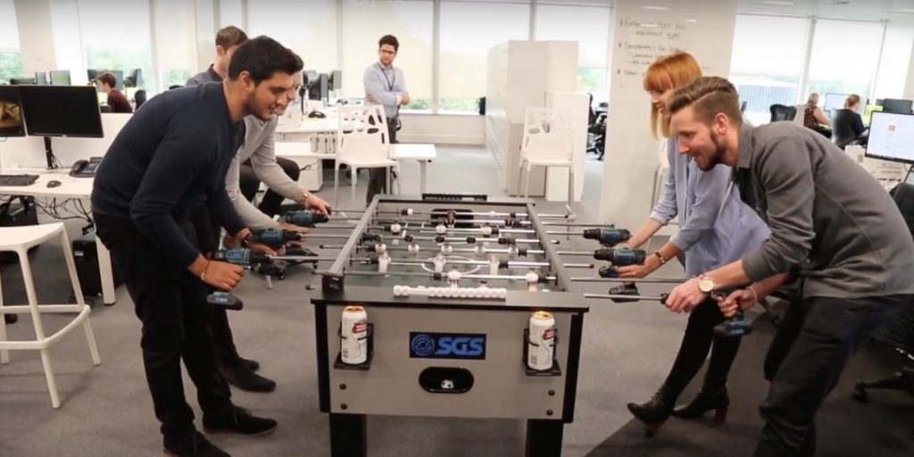 foosball table in office